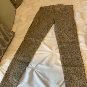 Grey leopard jean leggings